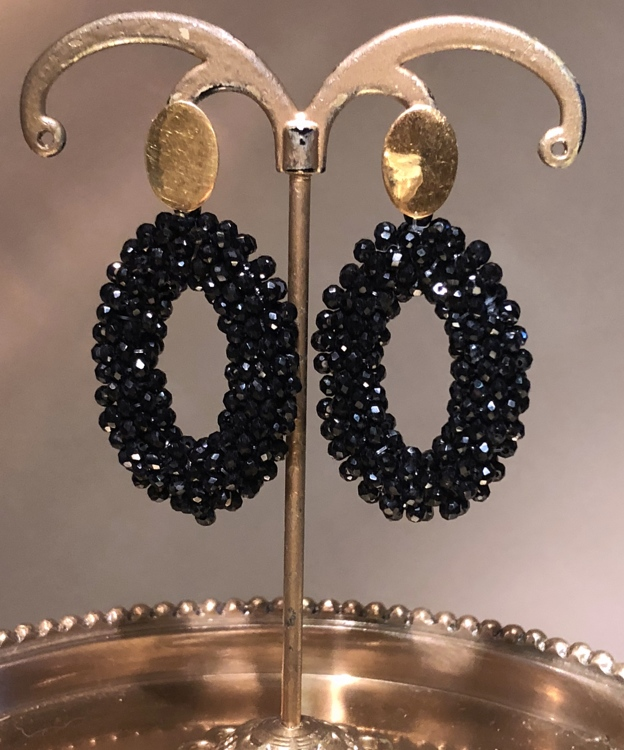 Vermeil black beaded oval Crystal oorbellen