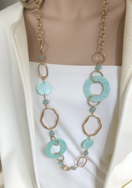 Statement matte schakelketting met aqua Resin