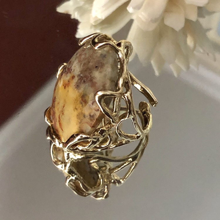 Statement ring beige gemêleerd Agaat