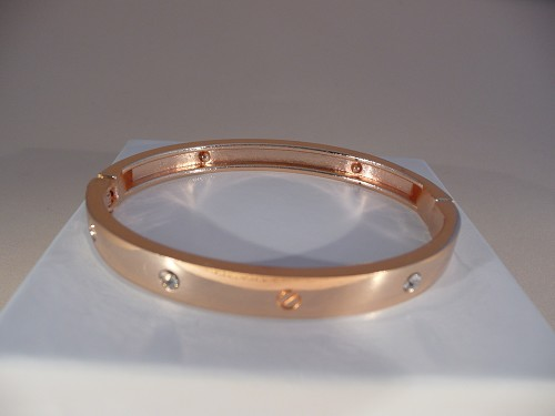 Rosegouden bangle met zirconia